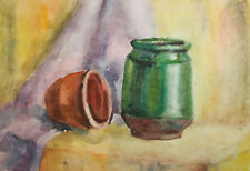 Vintage impressionist watercolor painting still life with pot and bowl