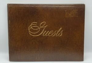 """A&M Leatherlines Guest Book Genuine Leather 24 KT Gold Tooled New York 10"""" X 8"""""""