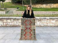 Turkish Antique Rug Lowpile Wool Oushak Rug  Tribal Design Anatolian Decorative