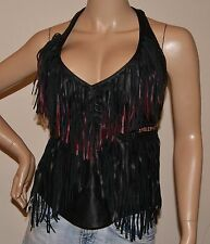 WOMENS RARE SEXY HARLEY DAVIDSON FRINGE LEATHER HALTER TOP Sz  X-SMALL   NWOT