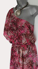MONSOON Pink Exotic Print One Shoulder Split Sides Keisha Style Maxi Dress M