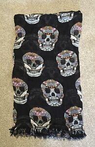 Black Scarf With Colourful Skull Motif (200cm x 112cm)