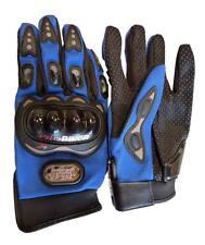 Carbon Fiber Motorcycle Pro-Biker Motorbike Racing Full Finger BLUE Gloves (L)