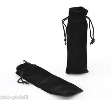 10pcs Black Velvet Drawstring Pouches Jewelry Gift Bags 15cm x 5cm Wedding