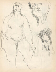 Modernist Figures, 3 Orig Drawings, John Ulbricht, Listed,1946, signed