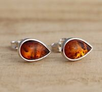 Cognac Baltic Amber 925 Sterling Silver Teardrop Stud Earrings Jewellery