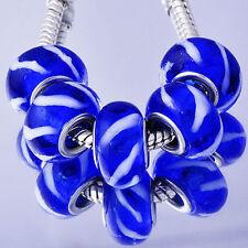 5Pcs silver charms lot blue lampwork murano glass beads Fit European Bracelet