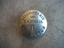 1910 B.H. Dyas Co Paris Department Store Chauffeur Badge Los Angeles California