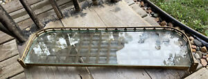 1900's Brass Railroad Train Shelf Bathroom Memorabilia Pullman Rack WITH GLASS!