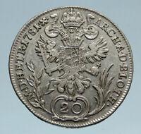 1781 B AUSTRIA King Joseph II Genuine OLD Silver 20 Kreuzer Austrian Coin i82993