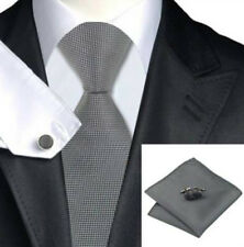 Mens Plain Silver  Silk Woven Tie+Hanky & Cuflinks Matching Set 141