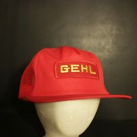Vintage Gehl Patch Mesh Trucker Hat Cap Red Yellow Snapback Retro HIpster