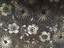 2 Yards - Island Batik Black and Grey Floral Cotton Fabric - KI01-J1