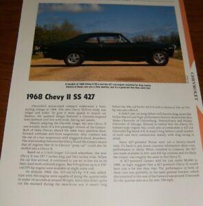 ★★1968 CHEVY II NOVA SS 427 SPECS INFO PHOTO 68 396 327★★