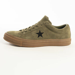 Converse One Star Ox Medium Olive Active Suede Trainers Green Lace Up