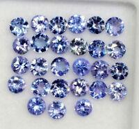 Natural Tanzanite 3 MM Round Cut Lustrous Violet Blue Loose Gemstone Lot