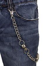 Men Silver Metal Link Wallet Chain KeyChain Punk Rocker Skeleton Skull Gothic