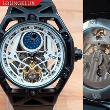 Mens Flywheel Open Heart Luxury Bling Skeleton Automatic Mechanical Wrist Watch