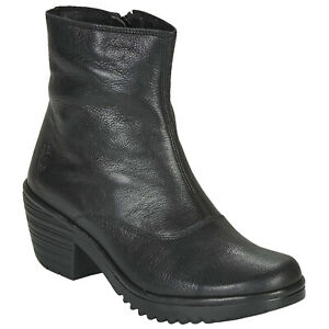 Fly London WINE054FLY Leather Biker Zip-up Casual Ankle Womens Boots