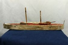 Antique Hand Carved & Painted Wood Toy Model WWI Russian Battleship