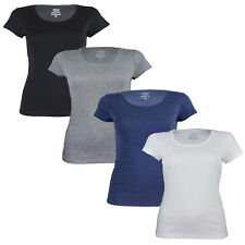 Ex Chain Store Ladies Scoop Round Neck Cotton Short Sleeve Women's T- Shirt Top