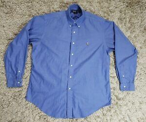 Polo Ralph Lauren Yarmouth Blue Button Front Long Sleeve Dress Shirt Sz 16- 35