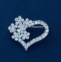 Clear crystal love / heart brooch pin