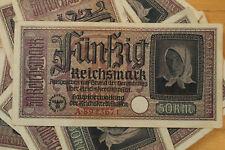 50 REICHSMARK NAZI GERMANY CURRENCY GERMAN BANKNOTE NOTE MONEY BILL SWASTIKA WW2