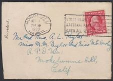 U.S. HAWAII, 1923 Territory Cover, Mokelumne Hill, CA
