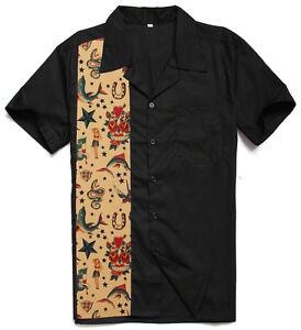 Mens Vintage Novelty Printing Tattoo Top Bowling Shirts Rockabilly Clothing