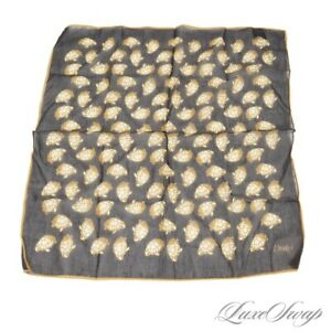 Drakes Made in Italy Silk Cotton Voile Black Gold Piped Turtles Pocket Square NR