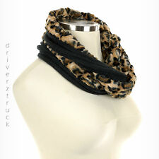CROFT & BARROW NWOT Faux FUR LEOPARD SCARF Loop INFINITY with BLACK KNIT Cowl