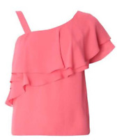 Dorothy Perkins One Shoulder Ruffle Top Magenta Pink Womens Ladies UK Size 12