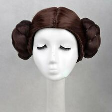 Star Wars Princess Leia Organa Solo Wig Short Brown Cosplay Hair With Two Buns
