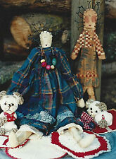 Pattern Primitive Raggedy Doll & Wood Tole Doll Uncut Oop Hickety Pickety Rare