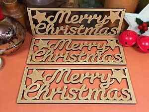 WOODEN MDF MERRY CHRISTMAS 'C' SIGN (x3) christmas wood shape decoration xmas