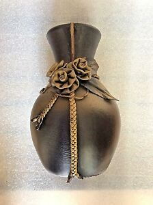 Porcelain Vase Decorated With High Grade Artificial Leather.