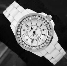 Vogue blanc inox Diamond Bling Quartz femme Lady bracelet Watch neuf