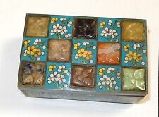 RARE OLD CHINESE MULTIPLE JADE STONES CLOISONNE ENAMEL LARGE HUMIDOR JAR BOX