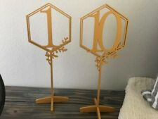 Wedding Table Numbers, Gold Wood,  Numbers 1-10