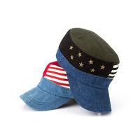 Men Womens Denim Jean Studded Military Hats Cadet Patrol Army Caps Star Rivets