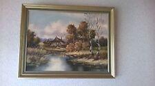 Ölgemälde AM DORFTEICH 92 x 72 cm auf Leinwand * Fritz Haack * Original Signatur