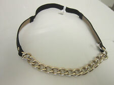 Anthropologie Gold Chain Link Leather Headband Hair Accessory Stretch Elastic