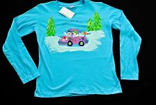 womens Hand painted Kudzoo Kids Christmas winter t shirts size medium blue LST
