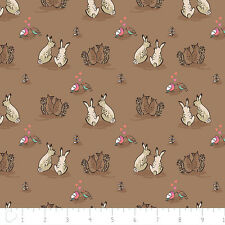 Fat Quarter Wilderness Rabbits Love on Light Brown 100% Cotton Quilting Fabric