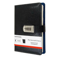 Boys Leather Journal Diary with Lock A5 Size 3 Digits Code Lock Notebook, Black