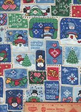 Christmas Snowman Winter Snow tags labels ornaments blocks squares Fabric BTY