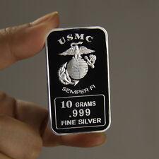 """10 grams .999 Fine Silver Bar, """"USMC Semper FI"""" design!,  NEW! A Must have!"""