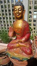 Vintage wooden Handcarved  Painted Tibetan Buddha