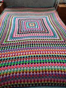 HOMEMADE CROCHET LARGE/DOUBLE BED BLANKET RETRO  -  Bright Multicoloured *NEW* 1